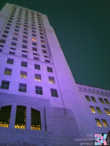 Los Angeles City Hall bathed in Lavender Light for Pride