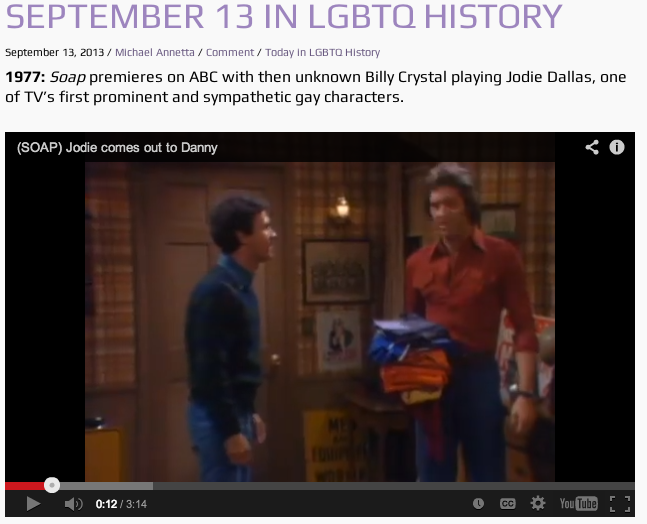 A sample posting of Today in LGBTQ History